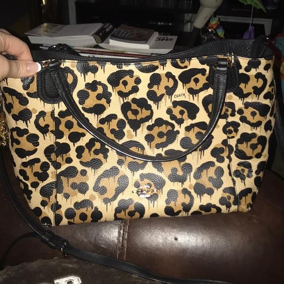 d3f3d5dfab0b Coach Handbags - COACH leopard print handbag with shoulder strap